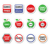 GMO food, no GMO or GMO free icons set
