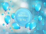 happy birthday badge with balloons