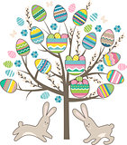 Stylized tree with rabbits isolated on white