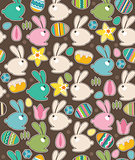 Seamless pattern with easter rabbits and spring flowers