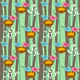 Seamless pattern with spring trees and birds