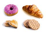 Crispbread, croissant gingerbread and donut