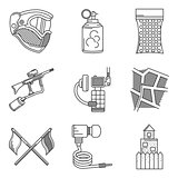 Black line icons vector collection of paintball accessory
