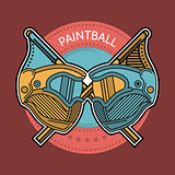 Colored vector illustration of paintball emblem