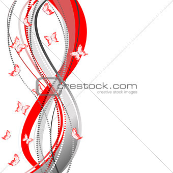 Abstract red and gray template with stripes and butterflies