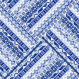 Blue geometric tribal ornaments pattern