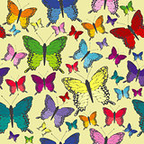 Colorful butterflies seamless background