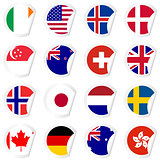 Curled corner stickers set with flags of the most developed coun
