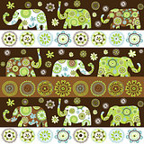 Ethnic background with floral patterned elephants