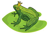 Frog with crown on the leaf