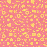 Seamless pattern with candy and cookies, food