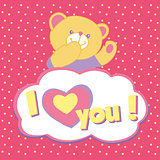 Vector greeting card with bear.