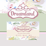 Vector logo and identification. Business card, banner. Perfumes and cosmetics. Dreamland. Floral fragrance.