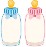 Baby bottle pink and blue tag label