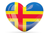 Heart shaped icon with flag of aland islands