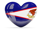 Heart shaped icon with flag of american samoa