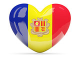Heart shaped icon with flag of andorra