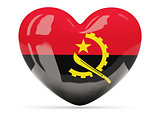 Heart shaped icon with flag of angola