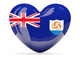Heart shaped icon with flag of anguilla