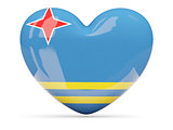 Heart shaped icon with flag of aruba