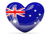 Heart shaped icon with flag of australia