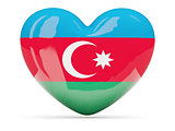 Heart shaped icon with flag of azerbaijan