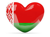Heart shaped icon with flag of belarus