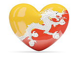 Heart shaped icon with flag of bhutan