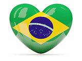 Heart shaped icon with flag of brazil