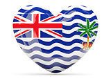 Heart shaped icon with flag of british indian ocean territory