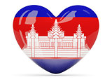 Heart shaped icon with flag of cambodia