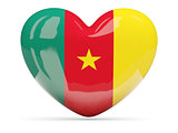 Heart shaped icon with flag of cameroon