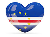Heart shaped icon with flag of cape verde