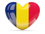 Heart shaped icon with flag of chad