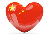 Heart shaped icon with flag of china