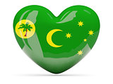 Heart shaped icon with flag of cocos islands