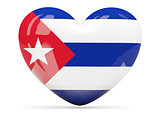Heart shaped icon with flag of cuba