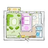 Sketch of design interior apartment, hand drawn vector illustration