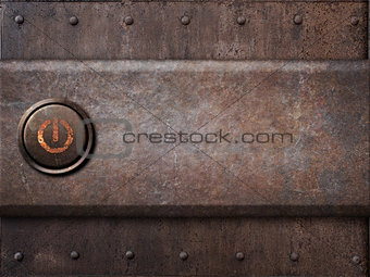 power button on rusty metal texture as steam punk background