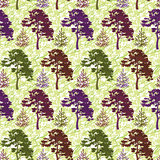Seamless, trees and abstract pattern
