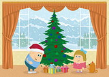 Children finding gifts under fir tree