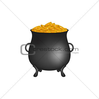 Black pot with golden money coins
