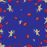 Seamless pattern with cupids and hearts. set 2.