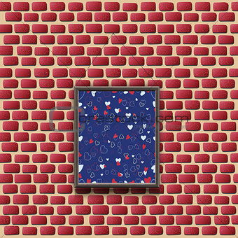 Abstract painting on a brick wall. Vector