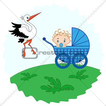 Baby boy in a pram and stork beside him