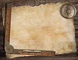 Old treasure map background with compass and ruler. Exploration concept.