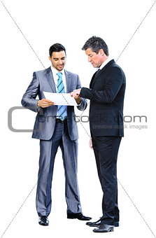 Business men discussing together isolated on white