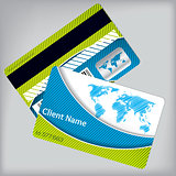 Loyalty card with vivid colors and scribbled map