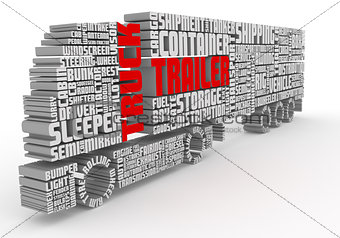 3d words shaping a truck with trailer front view