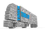 3d words shaping a truck with trailer lower front view